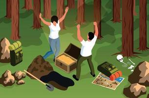 composição de caça ao tesouro florestal vetor