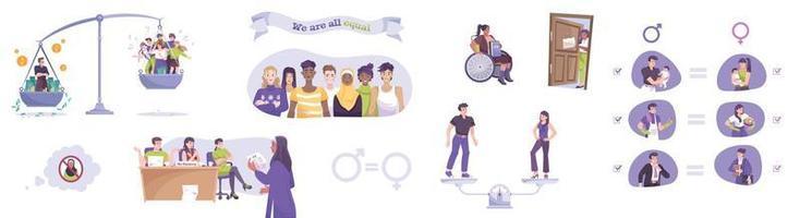 conjunto de ícones planos de justiça social vetor