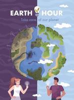 cartão plano das horas da terra vetor