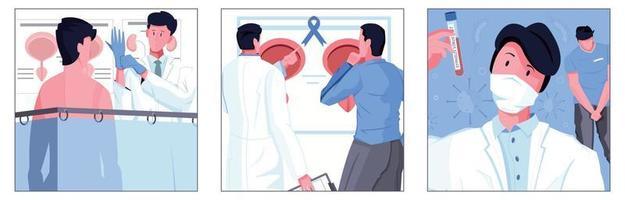 ilustrações quadradas de saúde masculina vetor
