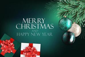 fundo de feriado de ano novo e feliz natal com árvore realista vetor
