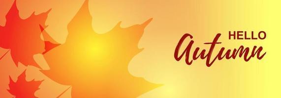 banner horizontal de outono com folhas de plátano. lugar para texto. ilustração vetorial vetor