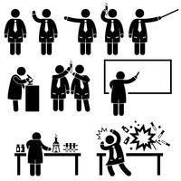 Cientista professor ciência laboratório pictogramas. vetor
