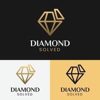 diamante resolvido em modelo de design de logotipo de estilo de linha vetor