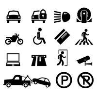 Lembrete do ícone do pictograma do símbolo do sinal do espaço de estacionamento do parque de estacionamento.
