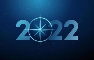 cartão abstrato feliz ano novo de 2022 com bússola vetor