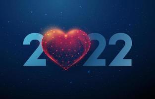 cartão abstrato feliz ano novo de 2022 com formato de coração vetor