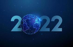 abstrato feliz ano 2022 novo cartão com o planeta. design de estilo low poly. fundo geométrico abstrato vetor