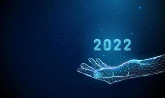 resumo dando a mão com o número 2022. vetor