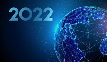 cartão abstrato feliz ano novo de 2022 com o planeta Terra vetor