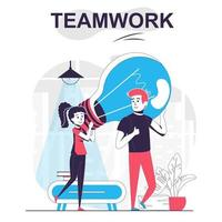 conceito isolado dos desenhos animados do trabalho em equipe. vetor