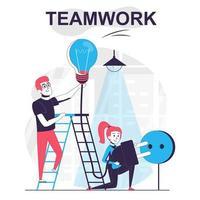 conceito isolado dos desenhos animados do trabalho em equipe. colegas trabalham juntos vetor