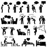 Conversa de pensamento de fala do homem pensamento rindo, brincando, sussurrando, gritando, conversando, ícone, símbolo, sinal, Pictogram.