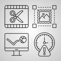 conjunto de ícones de linha de designer gráfico isolado em símbolos de contorno branco designer gráfico vetor