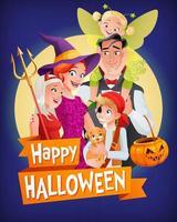 cartão de feliz dia das bruxas com a família fantasiada vetor