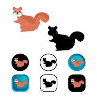 coleção de ícones de animais esquilo plano vetor
