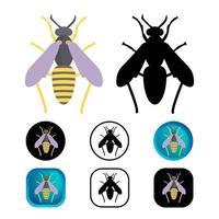 coleção de ícone de inseto vespa plana vetor
