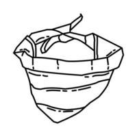 ícone de bandana de cachorro. doodle desenhado à mão ou estilo de ícone de contorno vetor