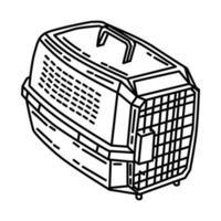 ícone de transportadora de animais de estimação. doodle desenhado à mão ou estilo de ícone de contorno vetor