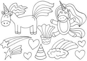 conjunto de elementos de design de unicórnio na mão desenhar estilo. coleção de fadas femininas vetor
