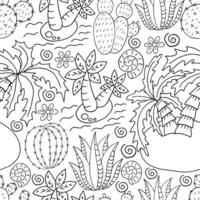 ilustração para colorir. cactos, babosa, suculentas. elementos decorativos naturais vetor