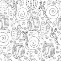 ilustração botânica perfeita. padrão tropical de diferentes cactos, babosa vetor