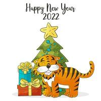 ano novo 2022. ilustração de desenhos animados para cartões postais, calendários, pôsteres vetor
