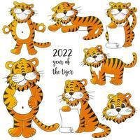 símbolo de 2022. ilustração com tigre na mão desenhar estilo. ano novo 2022 vetor