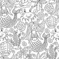 padrão sem emenda de vetor na mão desenhar estilo. ilustração do forro. padrão, plano de fundo no tema marinho