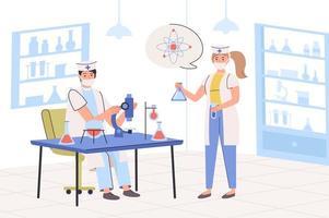 conceito de pesquisa de laboratório. cientistas fazendo testes científicos com microscópio e frascos em laboratório. pesquisa e descoberta química, médica ou farmacêutica. ilustração vetorial em design moderno e plano vetor