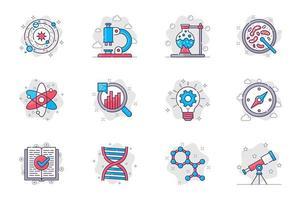 conjunto de ícones de linha plana de conceito de ciência. pesquisa científica e equipamentos de laboratório. pacote de astronomia, microscópio, teste, frasco, átomo, molécula, outro. símbolos de esboço de pacote conceitual de vetor para aplicativo móvel