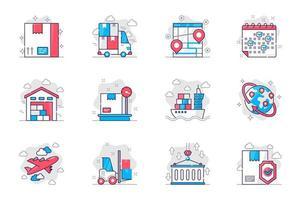 conjunto de ícones de linha plana de conceito de transporte. serviço de entrega e logística. pacote de pacote, caminhão, rastreamento, armazém, carga, exportação e outros. símbolos de esboço de pacote conceitual de vetor para aplicativo móvel