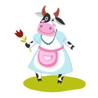 vaca engraçada dos desenhos animados vetor