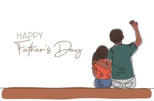 um desenho de linha contínua do jovem pai sentado ao lado da filha e contando uma história engraçada. conceito do dia do pai feliz. cartão com tipografia. ilustração em vetor desenho desenho de linha única