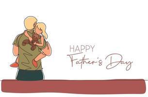 único desenho de linha contínua de jovem pai carregando sua filha sonolenta que segura uma boneca de urso. conceito do dia do pai feliz. cartão com tipografia. ilustração em vetor desenho desenho de uma linha