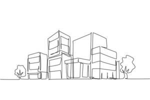 Contínuo um desenho de linha de um luxuoso prédio de apartamentos em área urbana. conceito minimalista desenhado de mão de construção de propriedade de arquitetura doméstica. ilustração gráfica de vetor moderno desenho de linha única