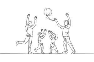 um desenho de linha única de jovem mãe e pai jogando bola de praia com seu filho e filha em ilustração vetorial para casa. conceito de parentalidade de família feliz. design moderno de desenho de linha contínua vetor