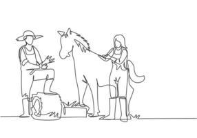 Um único desenho a linha de um fazendeiro pisou com um dos pés no feno enrolado quando estava prestes a alimentar o cavalo. uma fêmea ajuda a acariciar o cavalo. ilustração em vetor gráfico de desenho de uma linha.