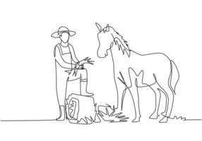 Uma única linha contínua desenhando o jovem agricultor do sexo masculino pisou com um dos pés no feno enrolado quando estava prestes a alimentar o cavalo. conceito de minimalismo. uma linha desenhar ilustração em vetor design gráfico.