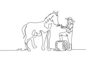 Uma única linha contínua desenhando uma agricultora pisou com um dos pés no feno enrolado quando estava prestes a alimentar o cavalo. conceito de minimalismo agrícola. ilustração vetorial desenho gráfico de uma linha vetor