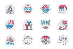 conjunto de ícones de linha plana de conceito de Natal. feliz ano novo, decoração festiva. pacote de árvore, bola, floco de neve, Papai Noel, presente, rena, meia, outro. símbolos de esboço de pacote conceitual de vetor para aplicativo móvel