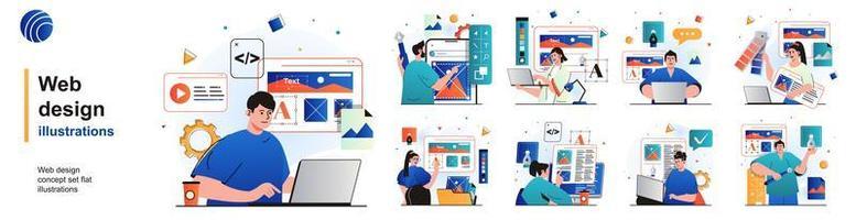 conjunto isolado de design web. designers criam o layout do site, colocam elementos. coleção de pessoas de cenas em design plano. ilustração vetorial para blog, site, aplicativo móvel, materiais promocionais. vetor