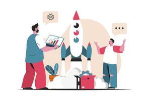 conceito de inicialização de negócios isolado. lançamento de novo projeto, criação e desenvolvimento. cena de pessoas no design plano dos desenhos animados. ilustração vetorial para blog, site, aplicativo móvel, materiais promocionais. vetor