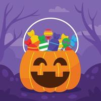 balde de abóbora de halloween cheio de doces vetor