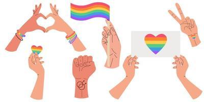 arco-íris entrega a parada do orgulho gay. celebrando o orgulho. comunidade lgbt. vetor