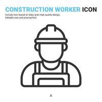 ícone de vetor de trabalhador da construção civil com estilo de contorno isolado no fundo branco. engenheiro de ilustração vetorial, conceito de ícone de símbolo de sinal de terno de trabalho para engenharia, negócios, industrial e construção