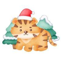cartão de Natal com tigre fofo em estilo aquarela. vetor