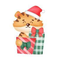 cartão de Natal com caixas de presente bonito tigerand em estilo aquarela. vetor