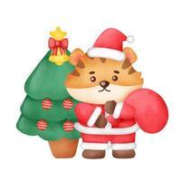 cartão de Natal com tigre fofo e árvore de Natal em estilo aquarela. vetor