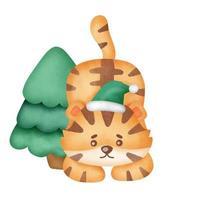 tigre de natal com elementos de Natal em estilo aquarela. vetor
